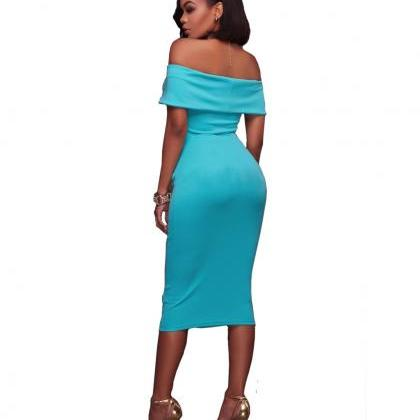 Women Midi Bodycon Dress Ruched Ele..
