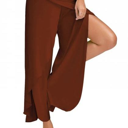 1 Piece Women High Split Trousers F..