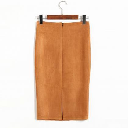 Spring Faux Suede Pencil Skirt High..