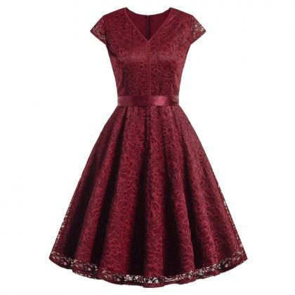 Women V-Neck Floral Lace Dress Belt..