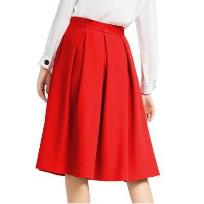 Red High Rise Knee Length Ruffled A..