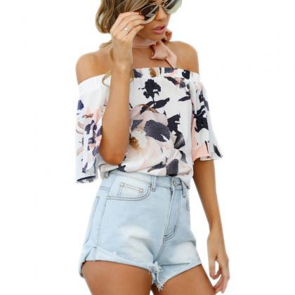 Floral Print White Elasticised Off-..