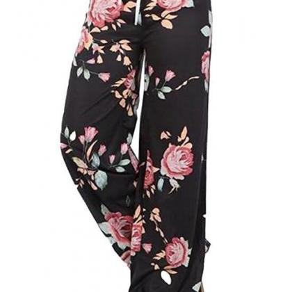 Women Wide Leg Long Pants Floral Pr..