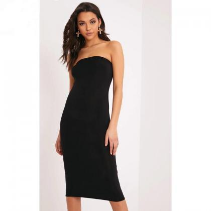 Black Strapless Slim Pencil Bodycon..