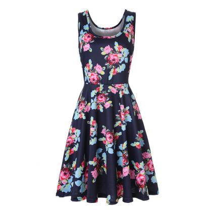 Women Floral Printed Casual Dress S..