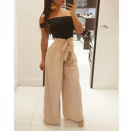 Women Wide Leg Pants High Waist Sol..