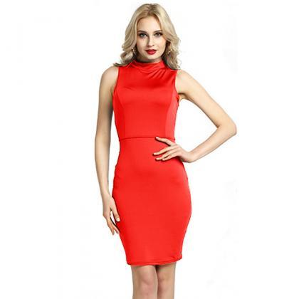 Women Pencil Dress Open Back High N..