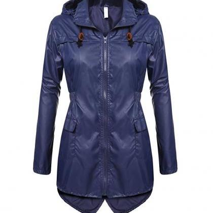 Women Raincoat Spring Autumn Hooded..