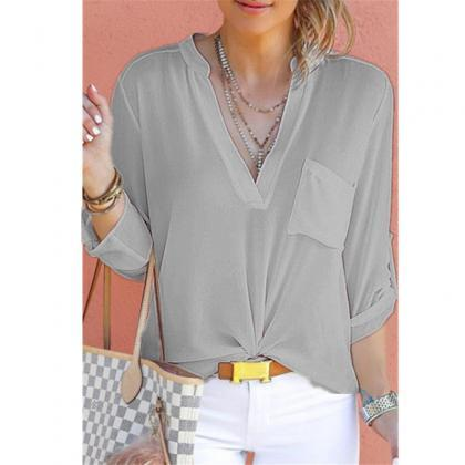 Women Chiffon Blouse V Neck Long Sl..