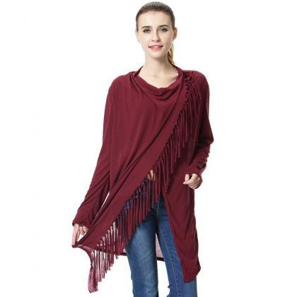 Women Asymmetrical Tassels Shawl Co..