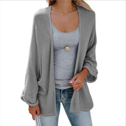 Women Knitted Cardigan Autumn Long ..
