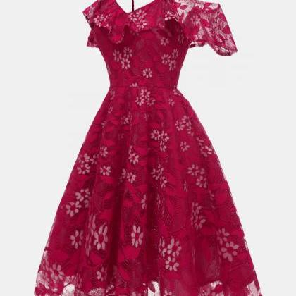 Women Floral Lace Dress Off the Sho..