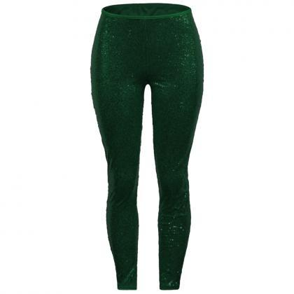 Women Sequined Pencil Pants With Li..