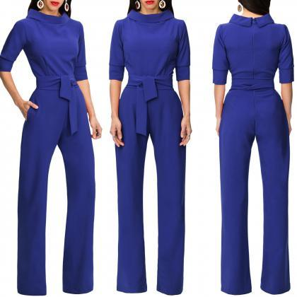 Women Jumpsuit Half Sleeve Stand Co..