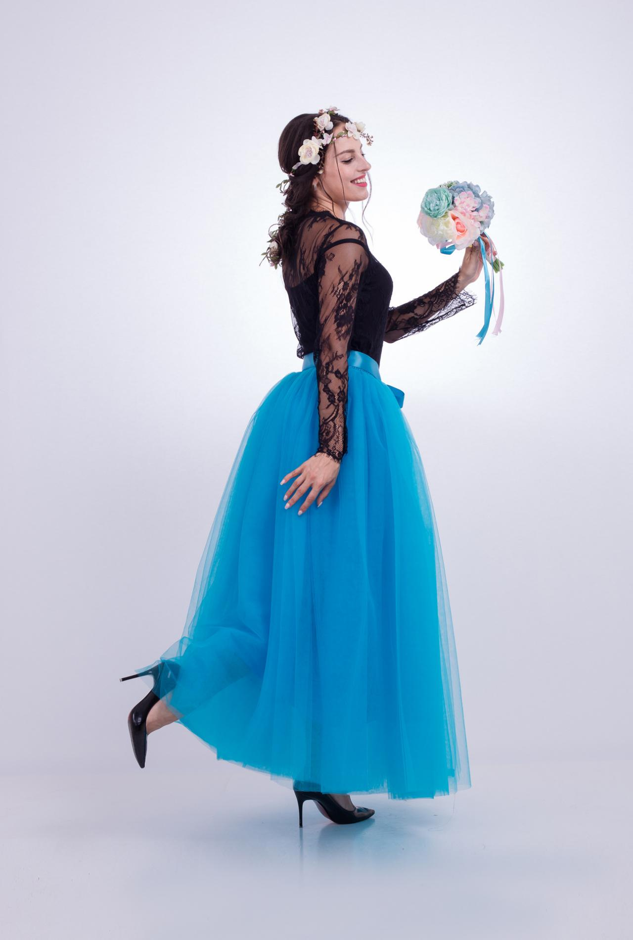 6 Layers Tulle Skirt Summer Maxi Long Muslim Skirt Womens Elastic Waist Lolita Tutu Skirts blue