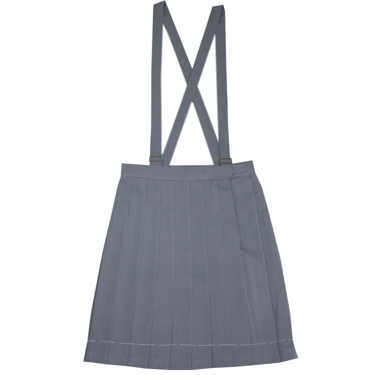 Japanese School Uniform Braces Skirt Girls Solid Pleated JK Suspender Jumper Skirt Cosplay Costume gray