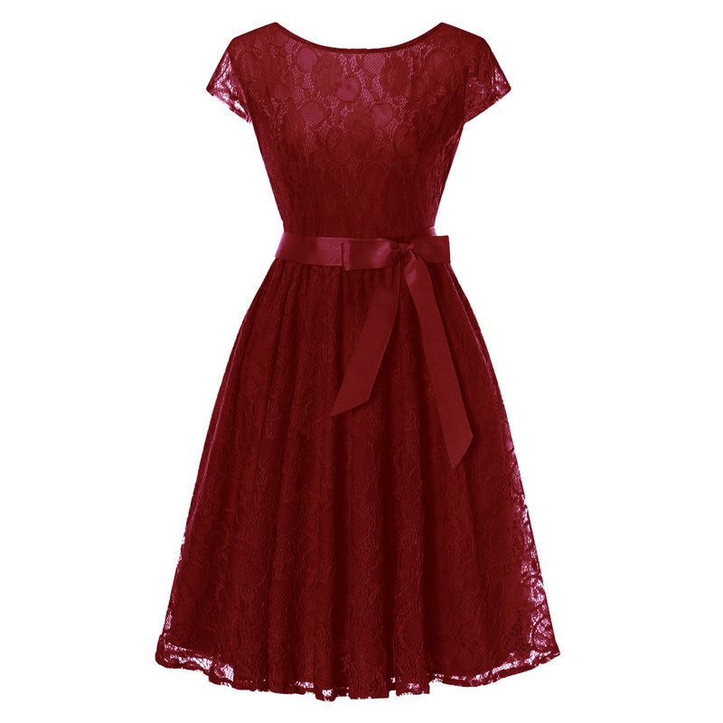 Elegant Floral Lace Pleated Dress Women Cap Sleeve Vintage Belted Swing Casual Party Dress burgundy