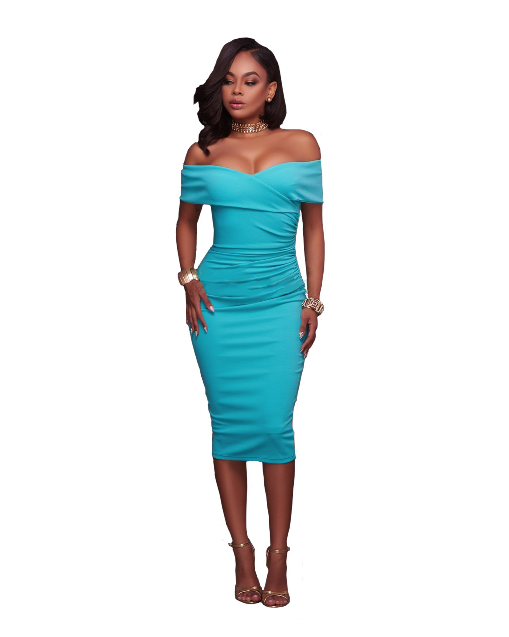 Women Midi Bodycon Dress Ruched Elegant Sexy Off the Shoulder Party Clubwear Pencil Dress light blue