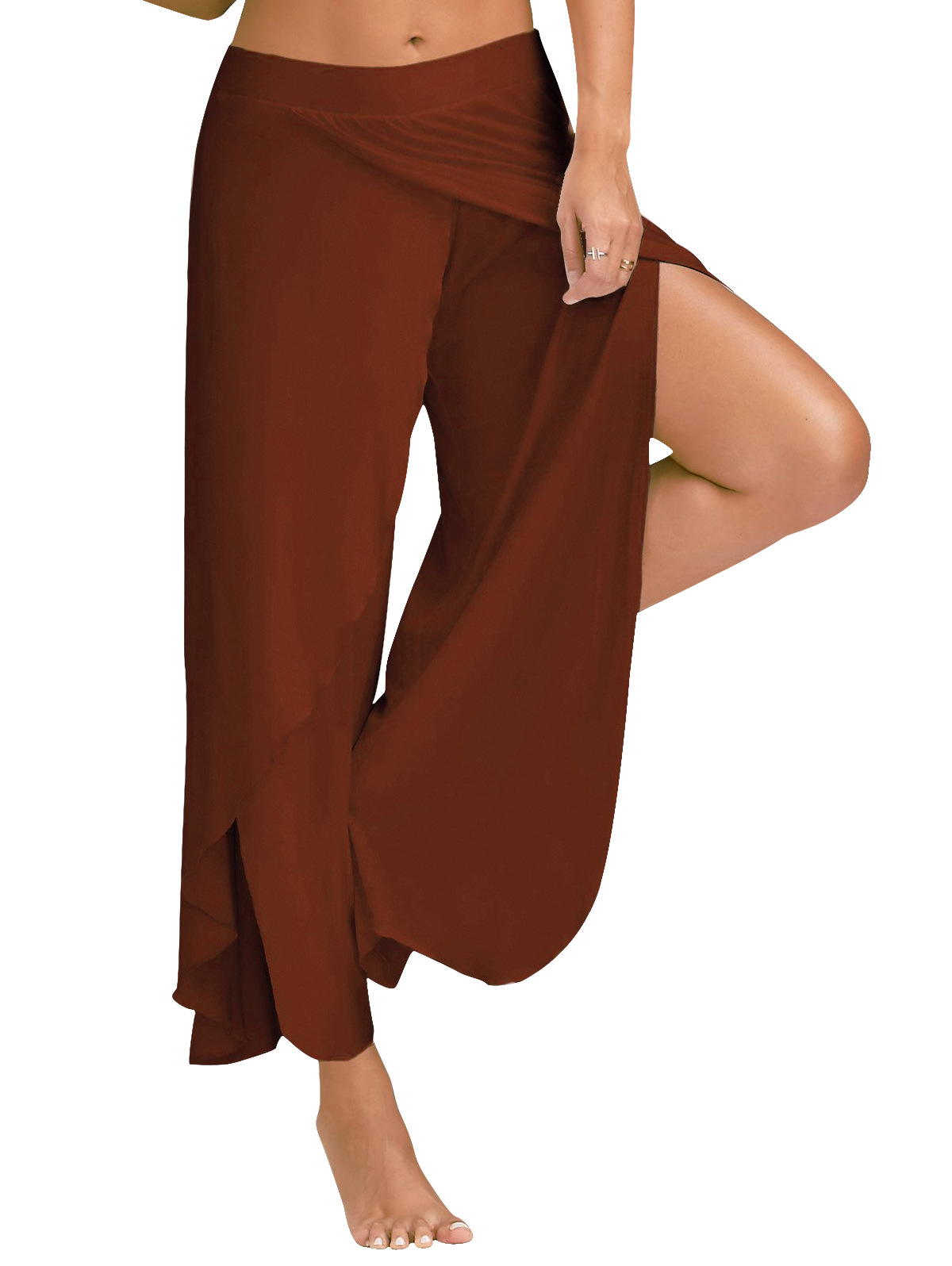 1 Piece Women High Split Trousers Female Loose Yoga Sport Wide Leg Pants coffee