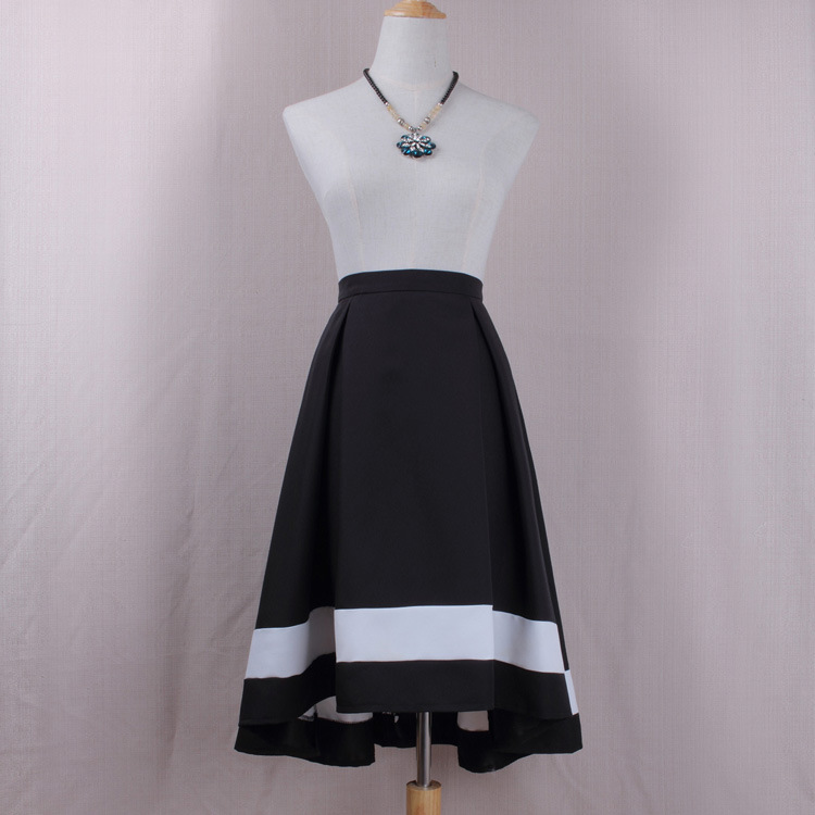 Women High Low Midi Skirt High Waist Pleated Patchwork Office Work A Line Skater Skirt black