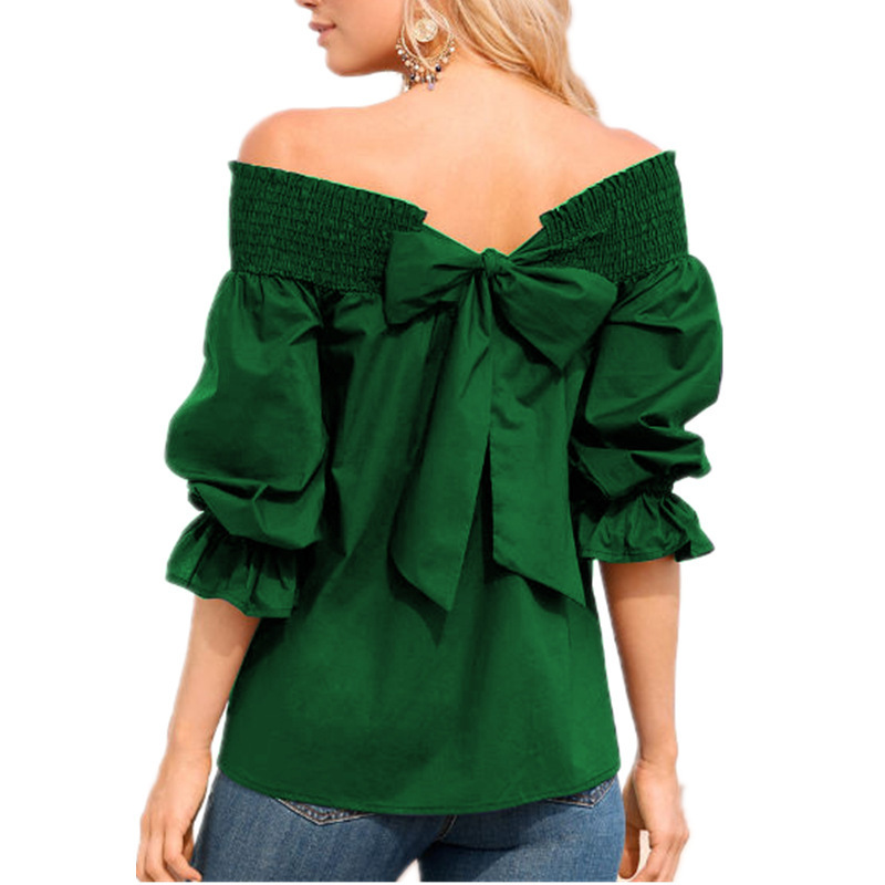 Off the Shoulder Tops Sexy Women Blouses 3/4 Sleeve Back Bow Casual Loose Shirts green