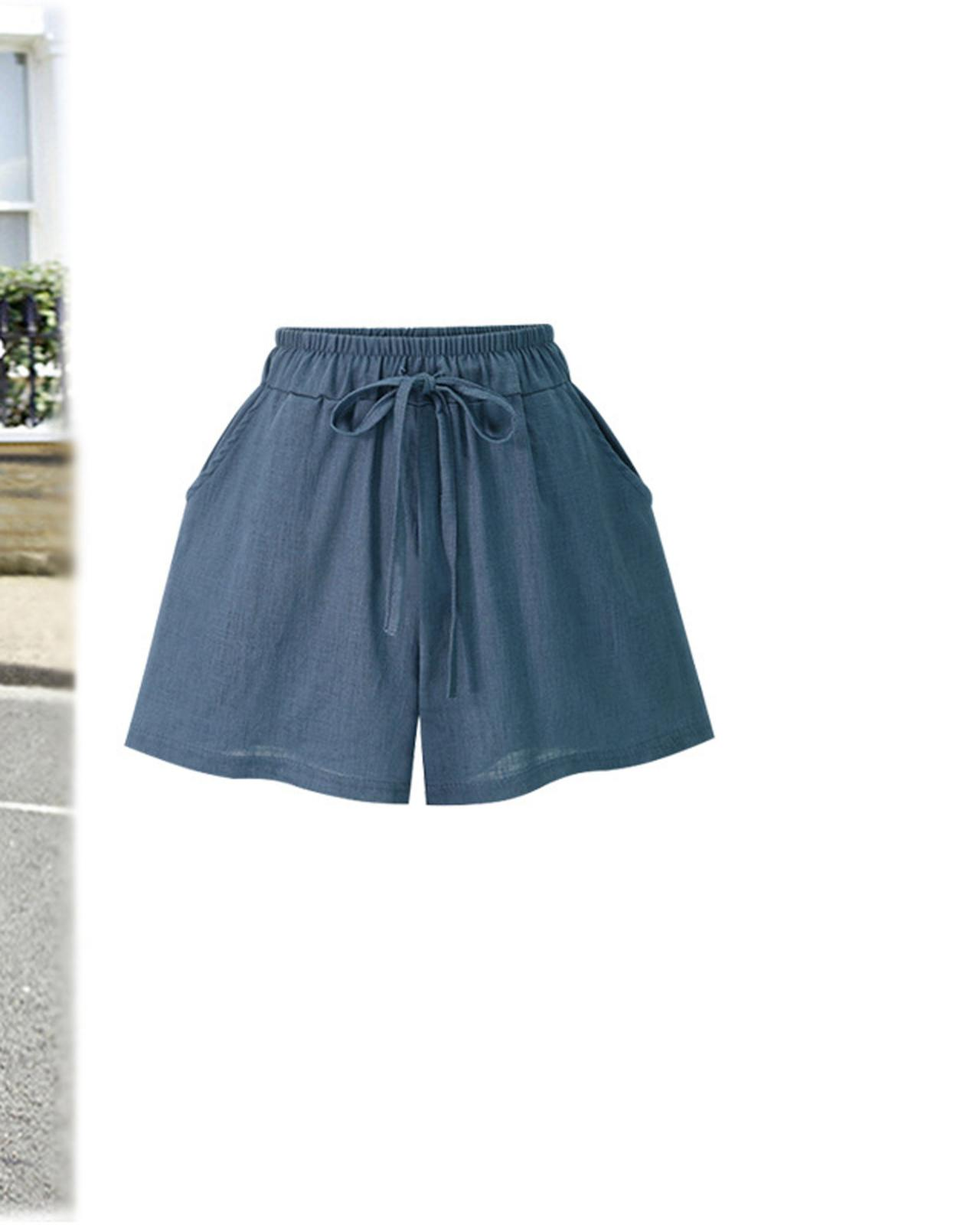 Women Wide Leg Shorts Plus Size Summer Drawstring High Waist Loose Casual Shorts blue
