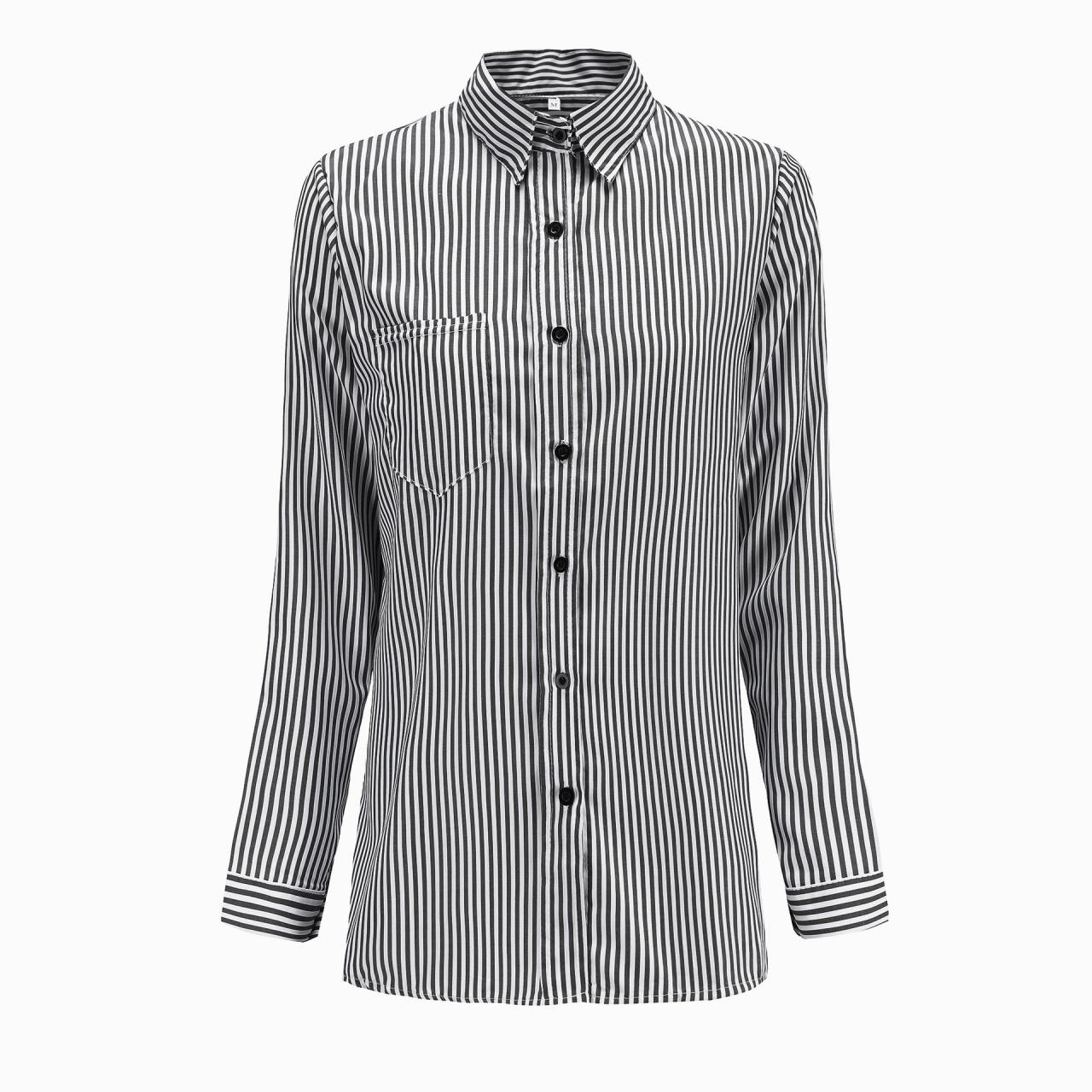 Women Striped Shirt Long Sleeve Turn-Down Collar Work Office Casual Loose Top Blouses black