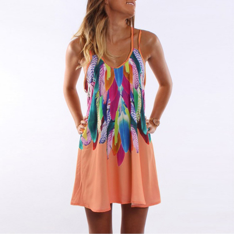 Women Floral Printed Mini Party Dress Spaghetti Strap Summer Beach Casual Sundress orange