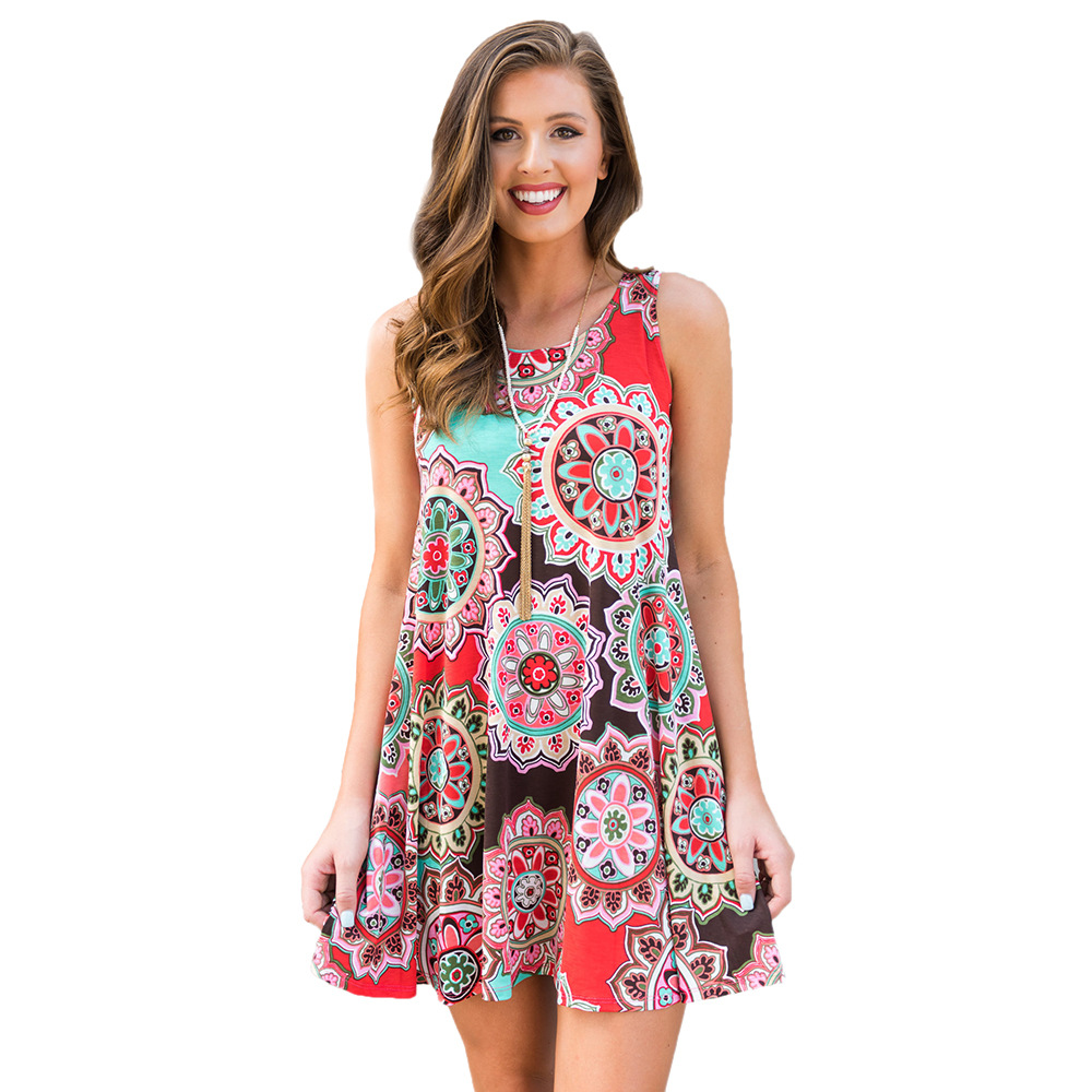 Women Casual Dress Summer Beach Sleeveless Pocket Element Printed Loose Boho Mini Dress 12#