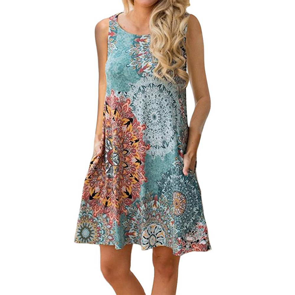 Women Casual Dress Summer Beach Sleeveless Pocket Element Printed Loose Boho Mini Dress 13#