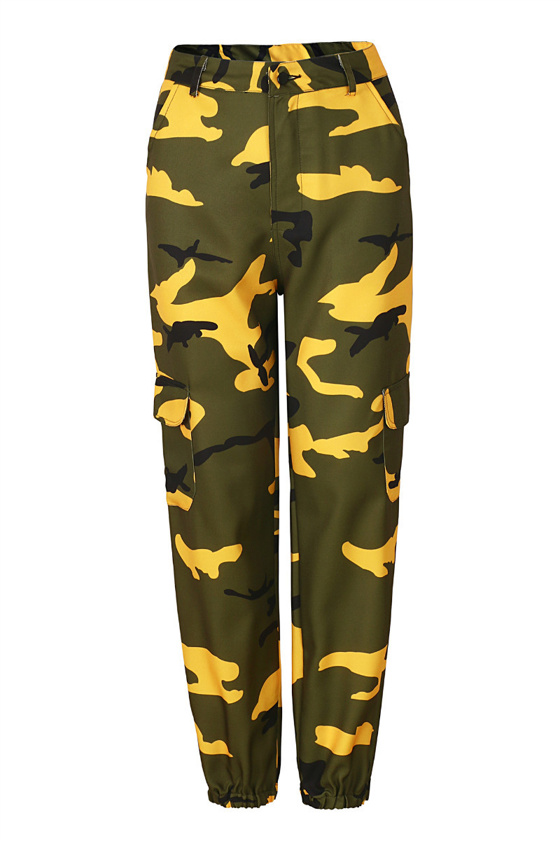 Women Camouflage Harem Pants Casual Loose Jogger Camo Cargo Trousers Sweatpants yellow
