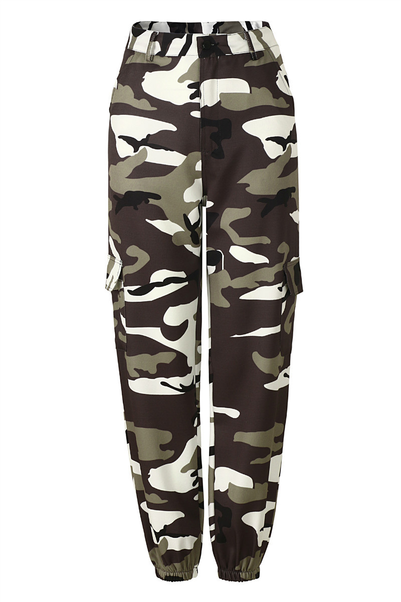 Women Camouflage Harem Pants Casual Loose Jogger Camo Cargo Trousers Sweatpants gray