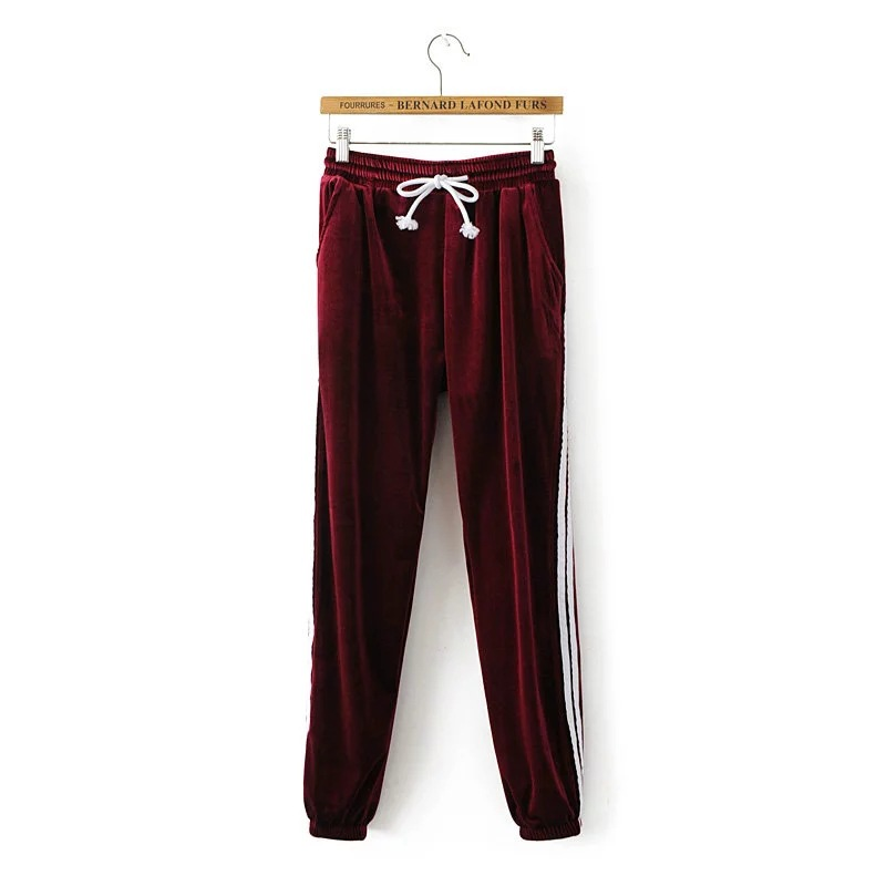 Sweatpants Women Sport Pants Joggers Casual Harlan Yoga Gym Side Striped Pleuche Drawstring High Waist Lady Femme Trousers burgundy