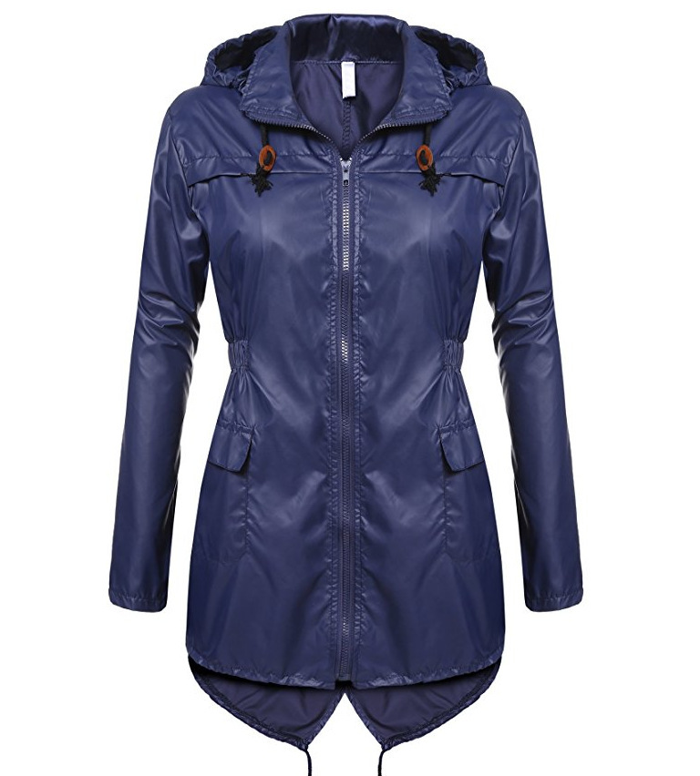 Women Raincoat Spring Autumn Hooded Long Sleeve Slim Fit Casual Waterproof Coat Jacket navy blue