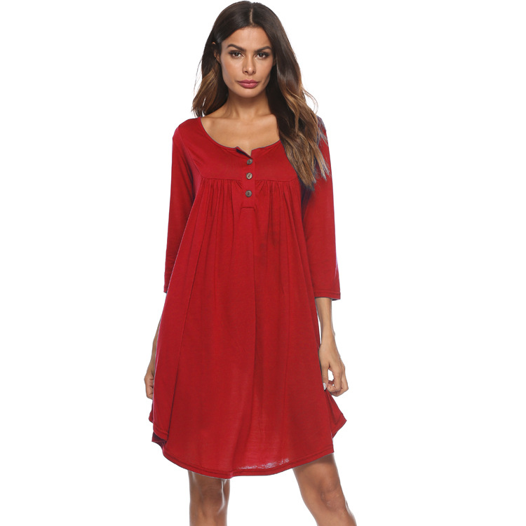 Women T Shirt Dress Autumn 3/4 Sleeve Buttons Plus Size Causal Loose Midi Dress red
