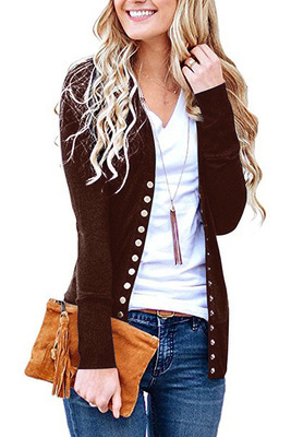 Women Cropped Cardigan V Neck Long Sleeve Button Slim Short Sweater Coat Jacket brown
