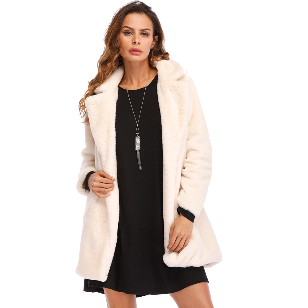 Women Faux Fur Coat Winter Long Sleeve Casual Warm Loose Open Stitch Jacket Cardigan Outwear ivory