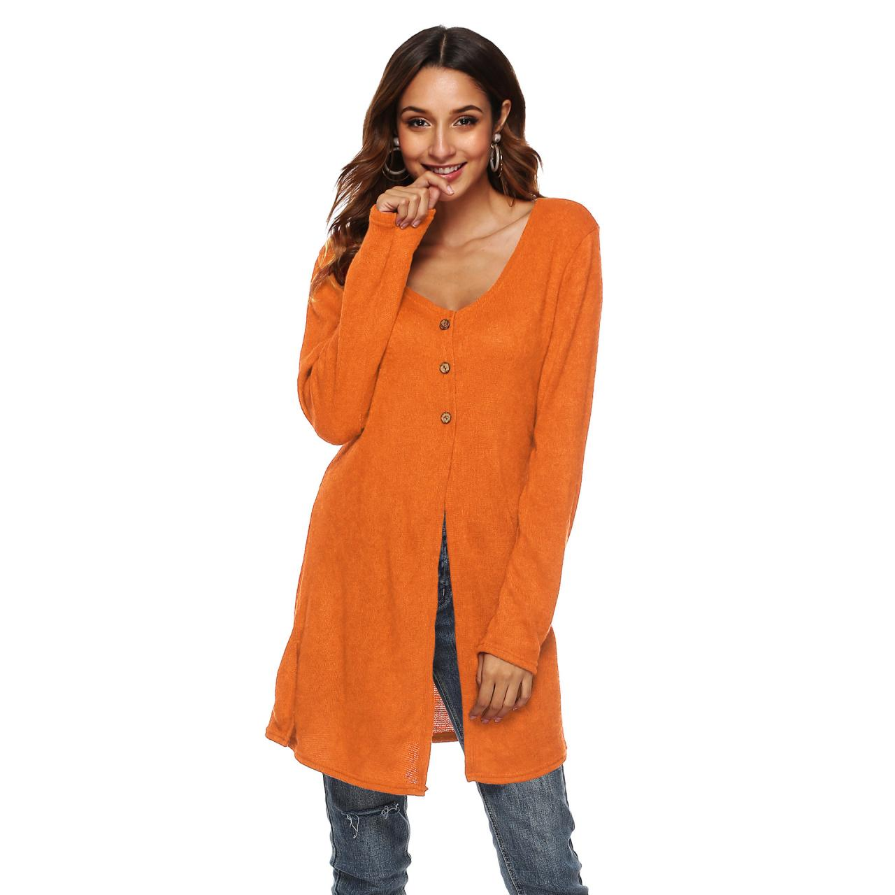 Women Long Sleeve T-Shirt Autumn Asymmetrical High Split Button Casual Long Cardigan Coat Outerwear orange