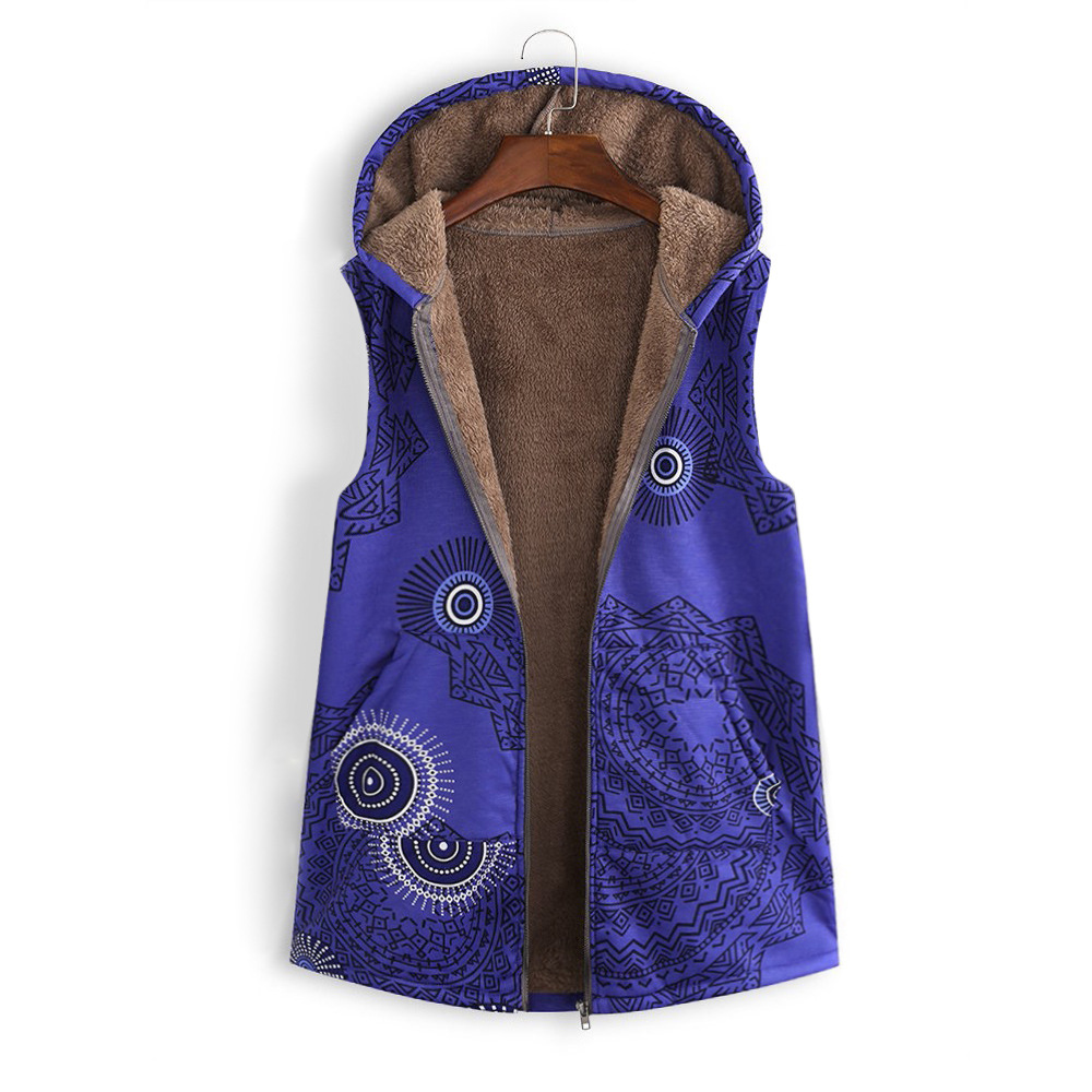 Women Floral Printed Waistcoat Winter Warm Hooded Pockets Vest Thicken Casual Plus Size Sleeveless Coat Outwear blue