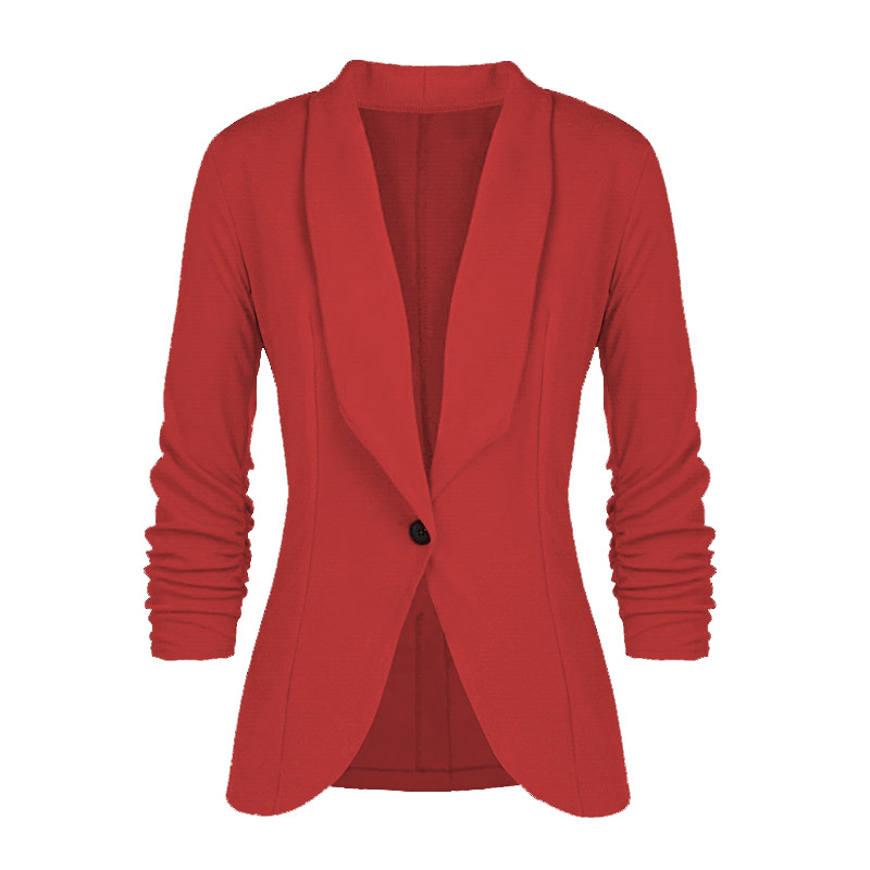 Women Blazer Coat Autumn Long Sleeve Single Button Office OL Business Slim Suit Jacket red