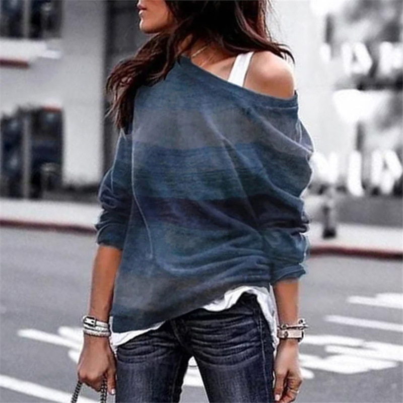 Women Long Sleeve T Shirt Spring Autumn Off Shoulder Casual Geometric Printed Pullover Tops green