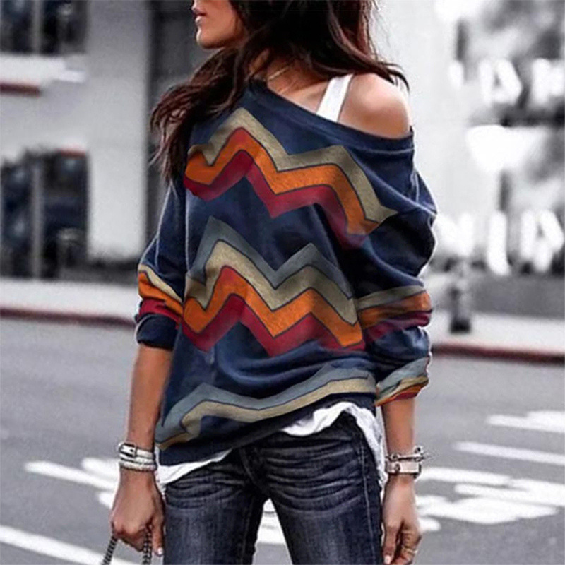 Women Long Sleeve T Shirt Spring Autumn Off Shoulder Casual Geometric Printed Pullover Tops army green