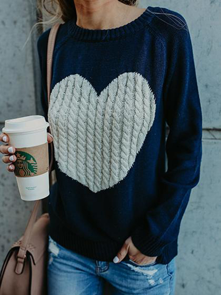 Women Knitted Sweater Autumn Winter Long Sleeve Heart Pattern Casual Loose Pullover Tops navy blue
