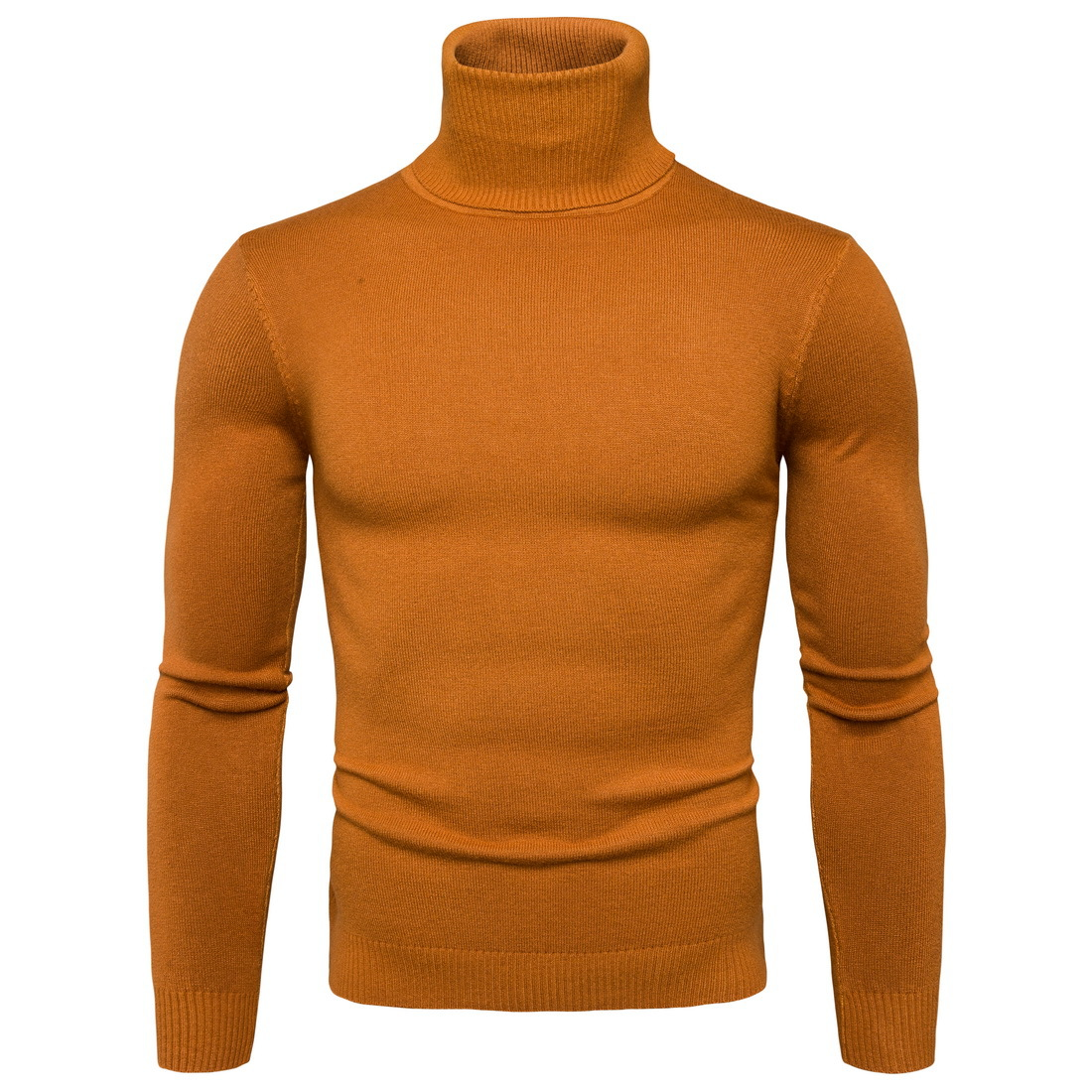 Men Knitted Sweater Autumn Winter Turtleneck Long Sleeve Casual Slim Pullover Tops yellow