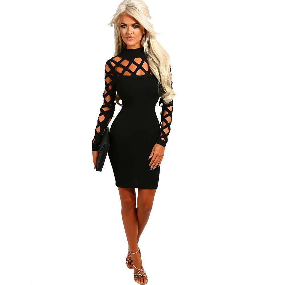 Women Bandage Dress Long Sleeve Hollow Out Bodycon Mini Club Pencil Party Dress black