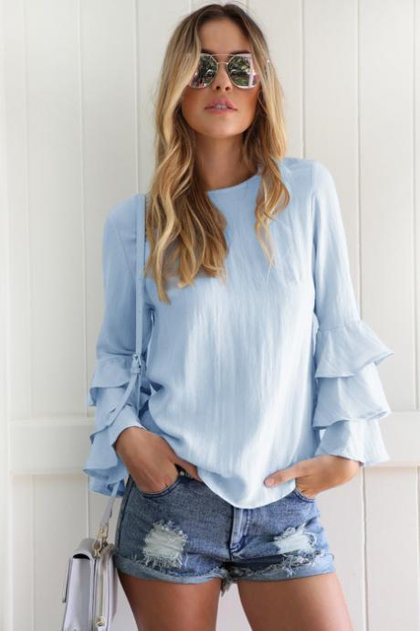 Casual Tops and Blouses For Women Spring Autumn Lady Round Neck Layered Long Flare Sleeve Elegant Blouselight blueColor