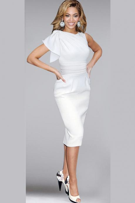 Elegant Ruffle Sleeve Knee length Work Office Casual Slim Wiggle Pencil Sheath Bodycon Women Dress white Color