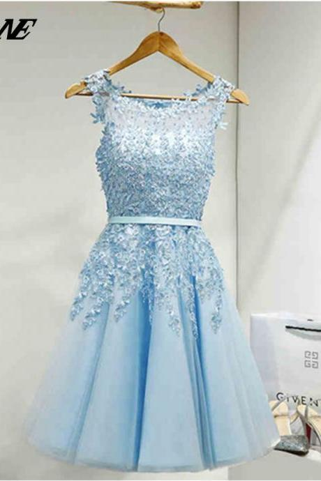 Light Blue Homecoming Dresses ,Lace Homecoming Dresses,Short Homecoming Dresses,Knee Length Homecoming Dresses,Elegant Homecoming Dresses,A Line Homecoming Dresses,Tulle Homecoming Dresses,Princess Homecoming Dresses,cocktail dress,short prom dr