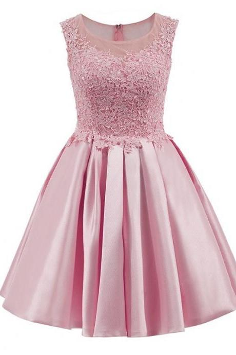 Elegant Homecoming Dress A Line Mini Applique Above Knee Cheap Satin Short Lace Cocktail School Formal Gowns