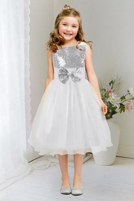 Flower Girl Dress For Children Sleeveless Sequined Bow Tutu Princess Costume Kids Dancing Clothes white Color